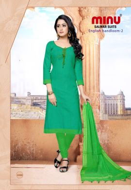 Minu Green Cotton Handloom Solid Color Designer Suit Salwarsuit