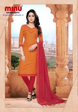 Minu Orange Cotton Handloom Solid Color Designer Suit Salwarsuit