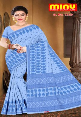 Minu Blue Pure Cotton With Check Pattern Sarees