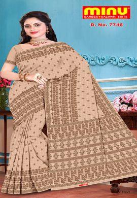 Minu Light Chocolate Pure Cotton With Check Pattern Sarees