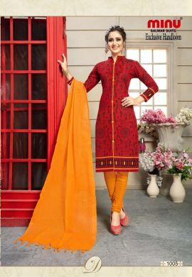 Minu Red Cotton Printed Exclusive Handloom Salwarsuit