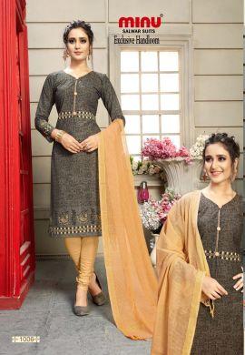 Minu Multi Cotton Printed Exclusive Handloom Salwarsuit