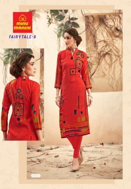 Minu Salmon Red Pashmina Fabric Winter Wear Exclusive Kurti