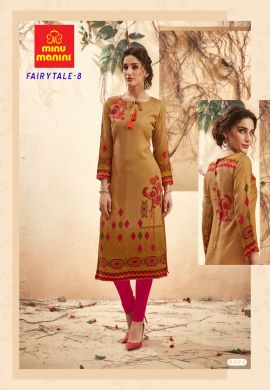 Minu Khaki Yellow Pashmina Fabric Winter Wear Exclusive Kurti