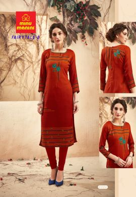 Minu Red Pashmina Fabric Winter Wear Exclusive Kurti