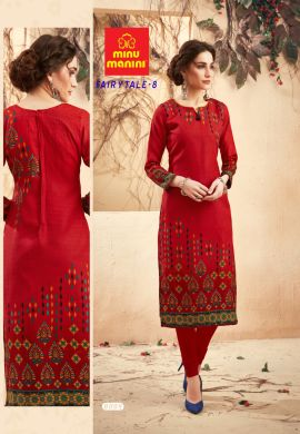 Minu Charming Red Pashmina Fabric Winter Wear Exclusive Kurti