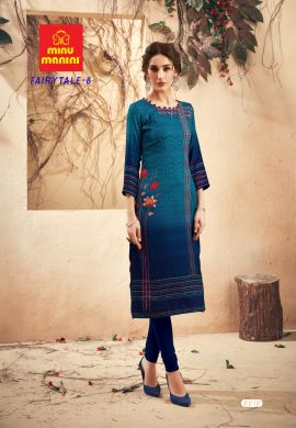 Minu Blue Pashmina Fabric Winter Wear Exclusive Kurti