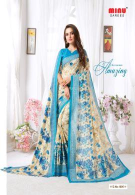 Minu Blue Minu Malai Cotton With Matching Printed Pashmina S Sarees