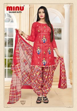 Minu Red Cotton Embroidered Patyala Puja Special Salwarsuit