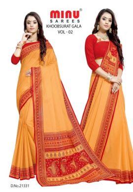 Minu Golden Orange Cotton Single Printed Border Saree Sarees