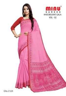 Minu Pink Cotton Single Printed Border Saree Sarees
