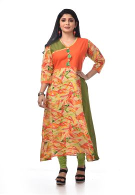 Minu Orange Pure Cotton Gown