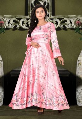 Minu Pink Designer Digital Print Crepe Fabric Floral Print F Gown