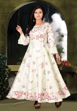 Minu Cream Designer Digital Print Crepe Fabric Floral Print F Gown