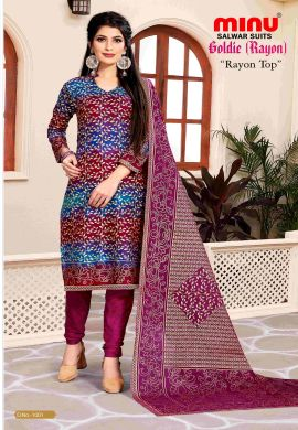 Minu Multi Rayon Printed Digital Print Unstitched Salwarsuit