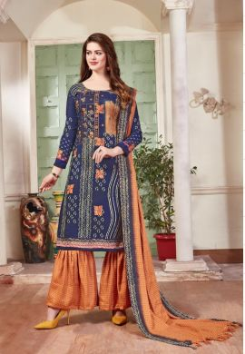 Minu Blue Pashmina Fabric Winter Wear Exclusive Collection Salwarsuit