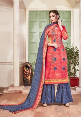 Minu Red Pashmina Fabric Winter Wear Exclusive Collection Salwarsuit
