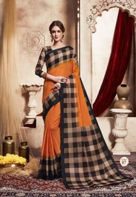 Minu Golden Handloom New Designer Check Printed Puja Special Sarees