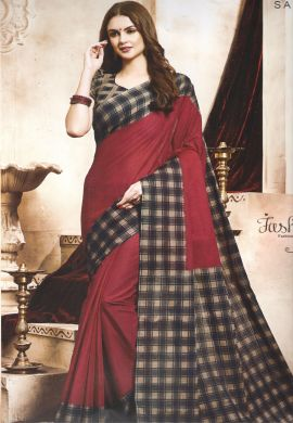 Minu Red Handloom New Designer Check Printed Puja Special Sarees