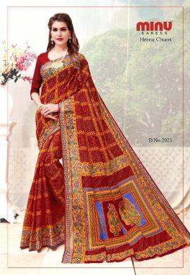 Minu Red & Yellow Cotton Printed Chunri Patter Saree Sarees