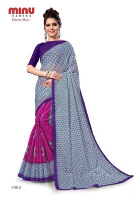 Minu Purple Cotton Printed Designer Saree By Minu Sarees