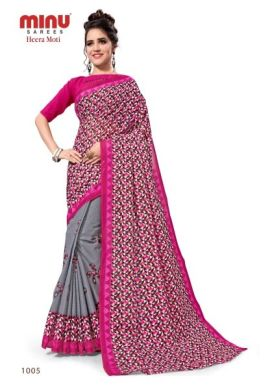 Minu Grey Cotton Printed Designer Saree By Minu Sarees