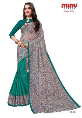 Minu Sea Green Cotton Printed Designer Saree By Minu Sarees