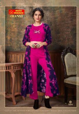Minu Pink Premium Rayon Crop Top With Plazo And Long Jacket Kurti