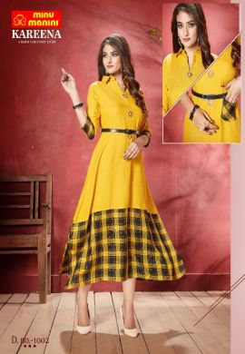 Minu Yellow Long Stylist Premium Rayon Kurti With Designer Bel Kurti