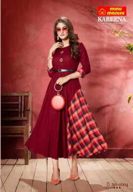 Minu Red Long Stylist Premium Rayon Kurti With Designer Bel Kurti
