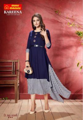 Minu Blue Long Stylist Premium Rayon Kurti With Designer Bel Kurti