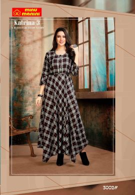 Minu White And Maroon Premium Rayon Fabric Long Stylish With Fashionable Kurti
