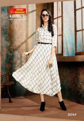 Minu White Premium Rayon Fabric Long Stylish With Fashionable Kurti