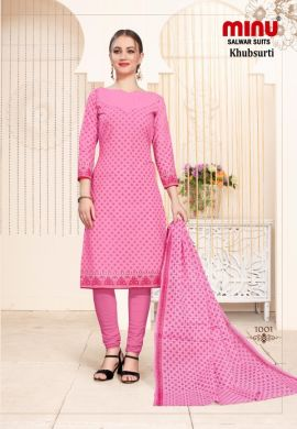 Minu Pink Cotton Printed Designer Fashionable Salwarsuit