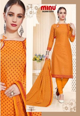 Minu Golden Cotton Printed Designer Fashionable Salwarsuit