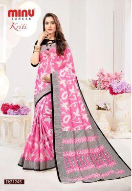Minu Pink Cotton Digital Printed Sarees
