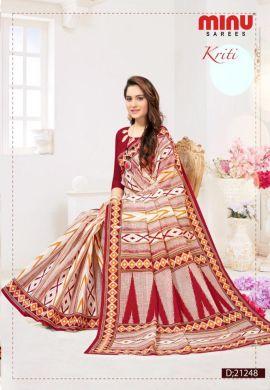 Minu Red Cotton Digital Printed Sarees
