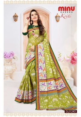 Minu Green Cotton Digital Printed Sarees