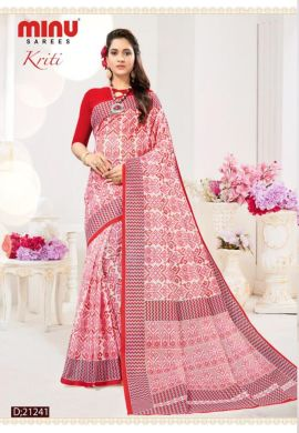 Minu Red Cotton Digital Printed Sarees