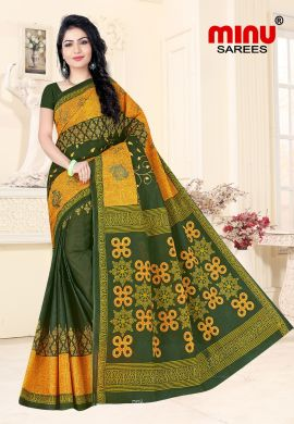 Minu Green Cotton Embroidered Sarees Sarees