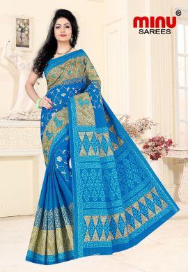 Minu Blue Cotton Embroidered Sarees Sarees