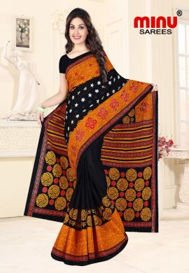 Minu Black Cotton Embroidered Sarees Sarees