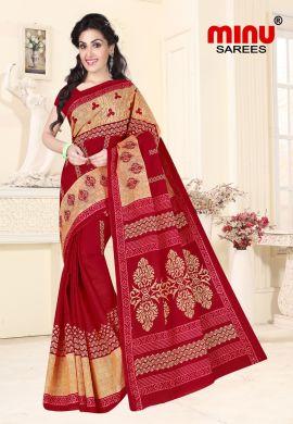 Minu Red Cotton Embroidered Sarees Sarees