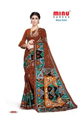 Minu Brick Brown Cotton Batik Print Designer Pattern Sarees