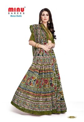 Minu Green Cotton Batik Print Designer Pattern Sarees