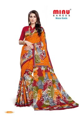 Minu Orange Cotton Batik Print Designer Pattern Sarees