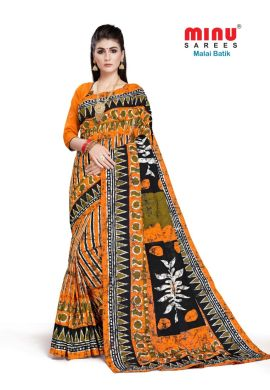 Minu Yellow Cotton Batik Print Designer Pattern Sarees