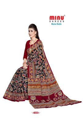 Minu Black Cotton Batik Print Designer Pattern Sarees