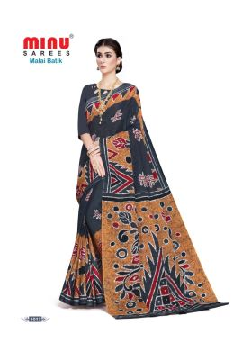 Minu Dark Grey Cotton Batik Print Designer Pattern Sarees