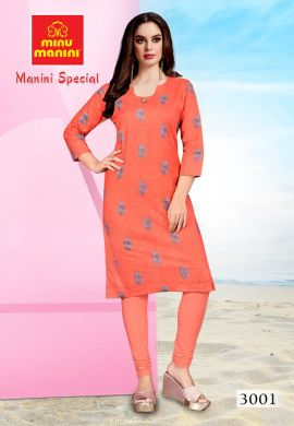 Minu Salmon Premium Cotton Long Ethnic Wear Kurtis Kurti